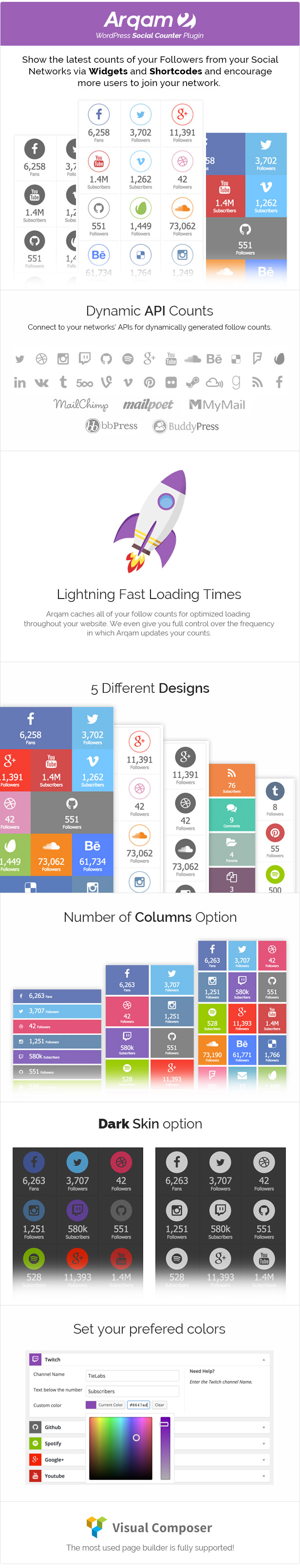 Social Counter Plugin for WordPress - Arqam 1
